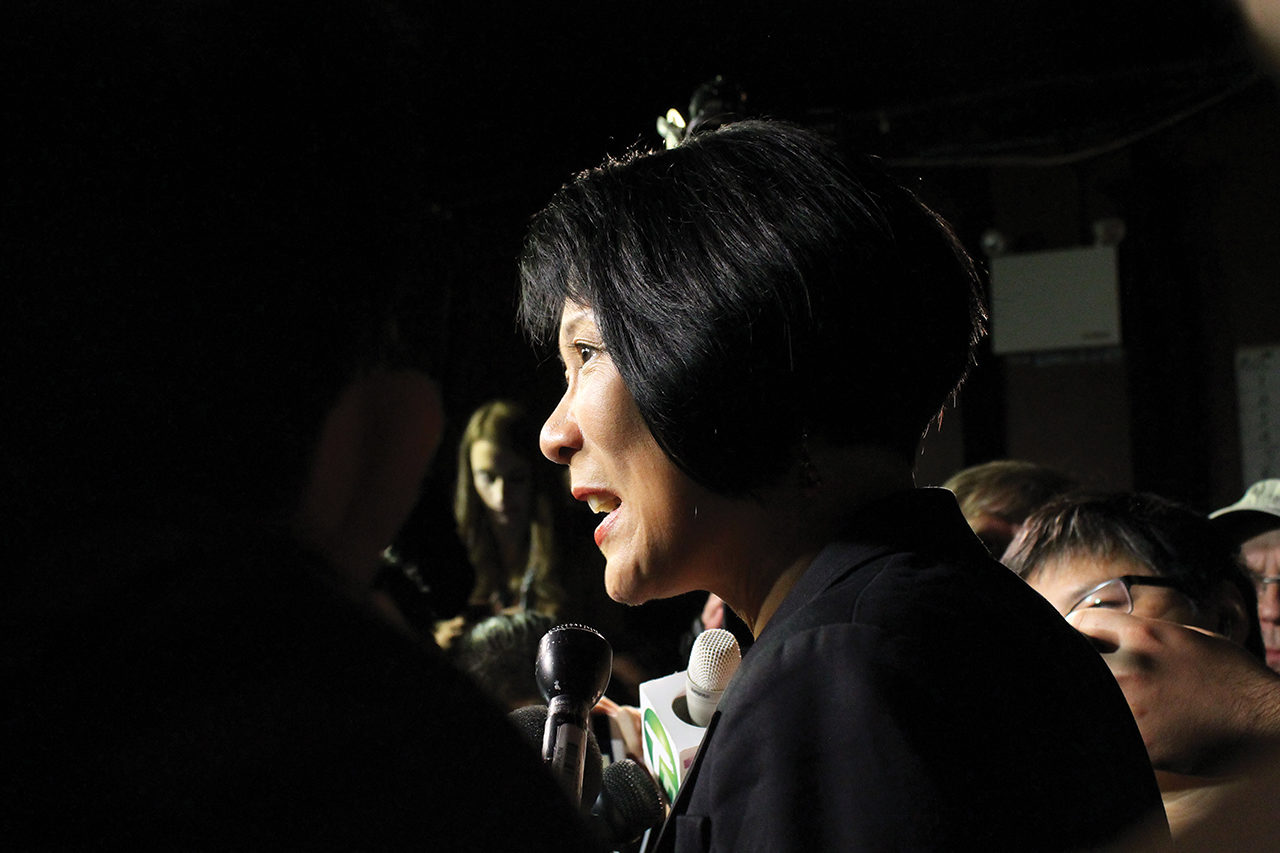 NDP candidate for the Spadina-Fort York riding Olivia Chow talks to the press after losing to Adam Vaughan and giving her speech to the volunteers. Photo taken at The Garrison in Toronto, Ontario on election night, October 19, 2015.